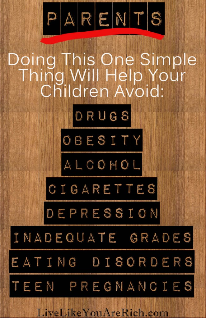 Parents: Doing this one simple thing will help your children avoid: Drugs, Obesity, Cigarettes, Inadequate Grades, Eating Disorders, and Teen Pregnancies