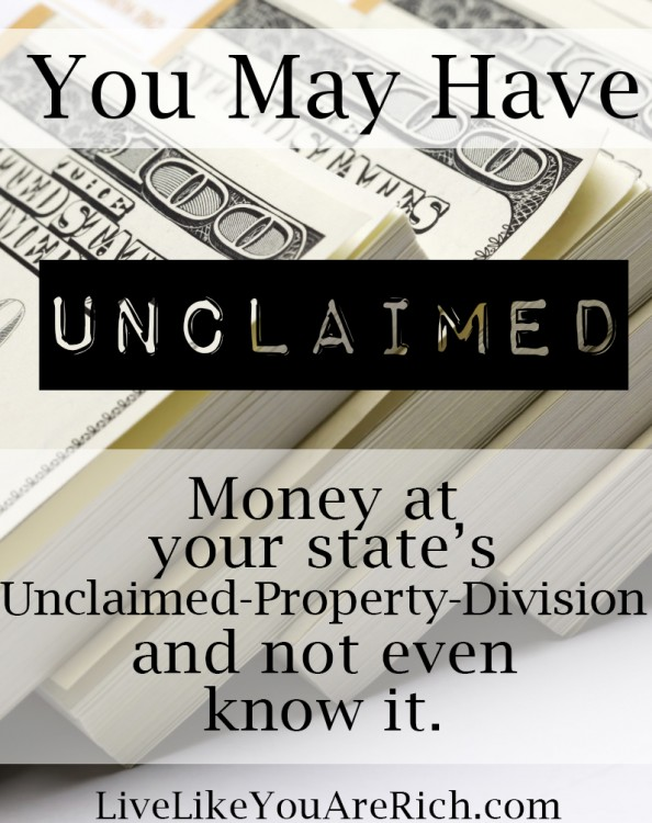 You may have unclaimed money sitting in your state dept.