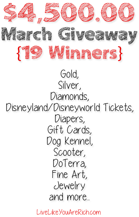 I'm giving away $4,500.00 worth in prizes to 19 winners!