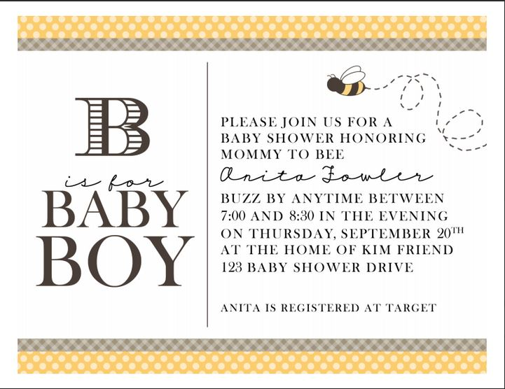 Bee is for Baby- Invitation
