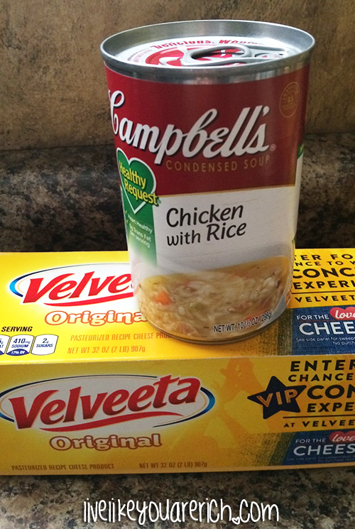Chicken with Rice and Velveeta Cheese Dip