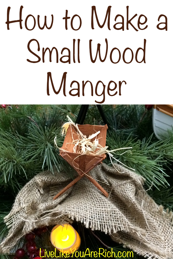 Creating a wood manger is a fun yet meaningful craft for Christmas. You can hang it on the tree, display one anywhere you want, in a nativity scene, or use it for a larger item like the Tale of Three Trees centerpiece/mantelpiece I did here...