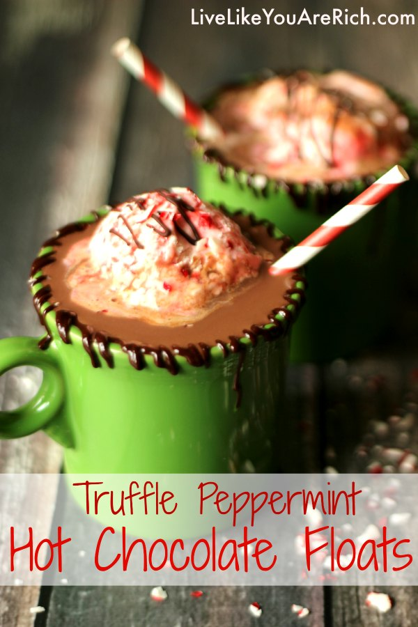 Peppermint Hot Chocolate Floats with decadent ice cream you can make at home in 5 minutes with no ice cream maker!