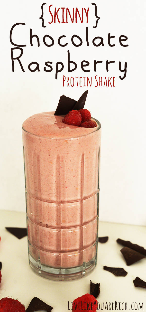 Skinny Chocolate Raspberry Protein Shake- Delicious! (Only 274 calories)
