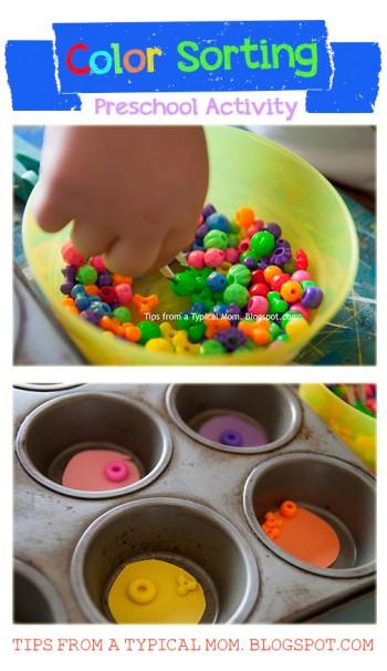 color sorting preschool activity