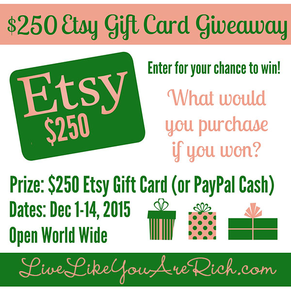 $250 ETSY Giftcard Giveaway