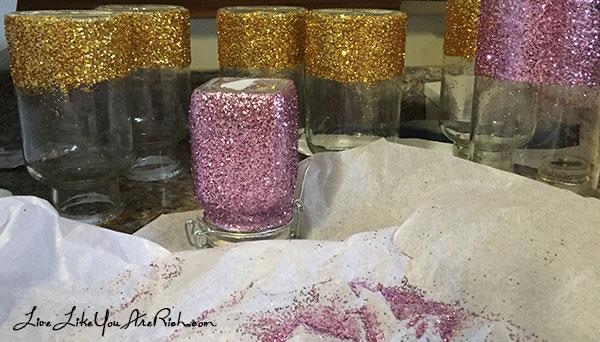 glitter vases